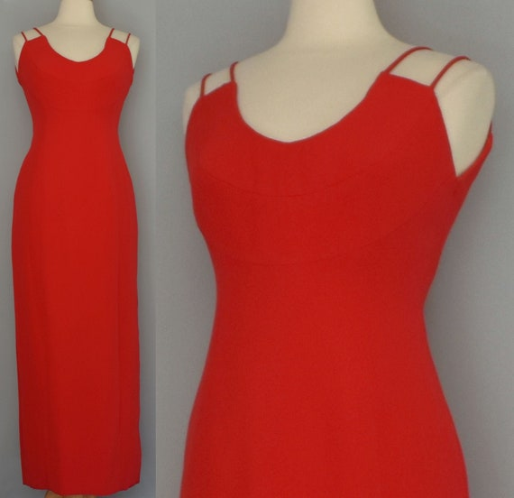 Estevez Red Silk Evening Gown, Vintage 70s Gown, B