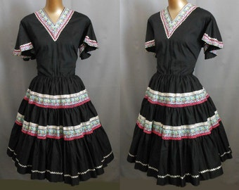 Vintage 60s Patio Dress, 1960s Black Southwestern Full Skirted Square Country Western Metallic Silver Trim Size L Large