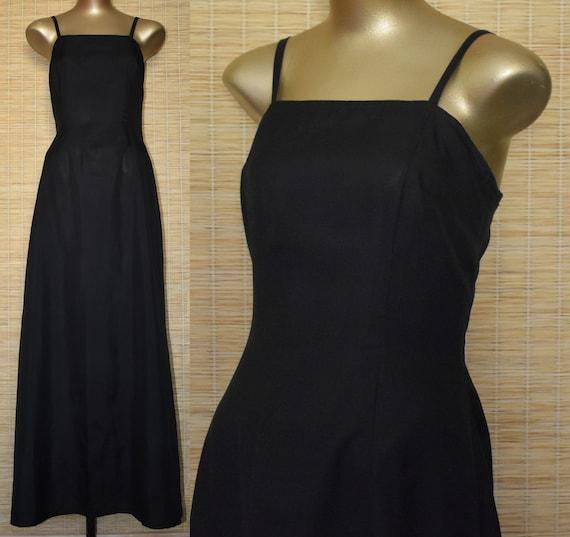 c7242996100 40s Style Black Silk Evening Gown Vintage Maxi Dress Size M