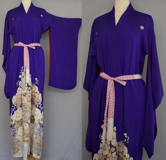 30s Furisode Kimono, Royal Purple Asian Floral Pri