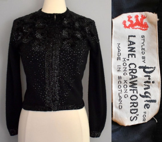 50s Pringle Cardigan Sweater, Black Hand Sequined
