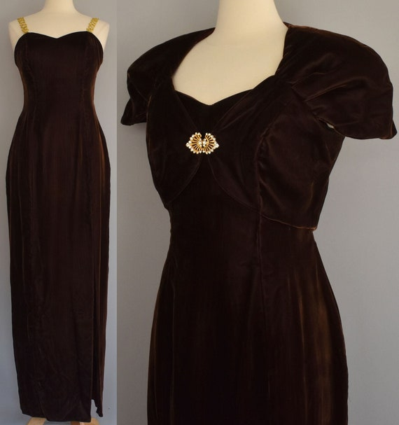 40s Style Evening Gown, Chocolate Brown Velvet Eve