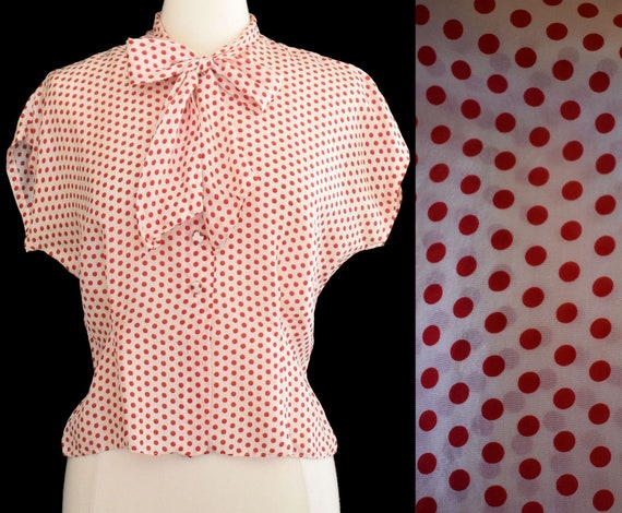 50s Silk Blouse, Red on White Polka Dot Print, Asc