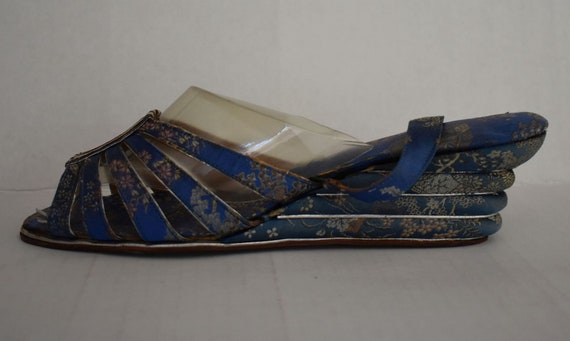 40s Chinese Silk Brocade Wedge Shoes, Cantilever S