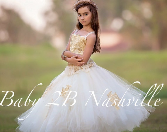 Vintage Dress Gold Lace Dress Flower Girl Dress Tulle Dress Party Dress Birthday Dress Wedding Dress Toddler Tutu Dress Girls Dress