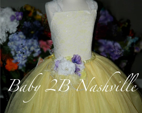 Yellow Dress Spring Dress Lace Dress Lemon Yellow Flower Girl Dress Tulle Dress Baby Dress Toddler Tutu Dress Girls Dress Wedding Dress