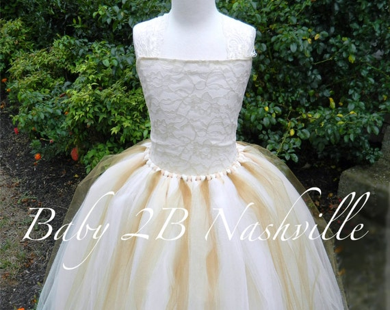 Cream Lace Dress Flower Girl Dress Wedding Dress Cream and Gold Dress Party Dress Ivory Tulle Dress Toddler Dress Girls Dress Baby Dress