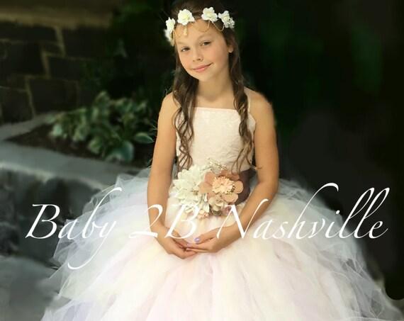 Vintage Dress Blush Dress  Lace Dress and Burlap Dress Flower Girl Dress Wedding Dress Tulle Dress Toddler Tutu Dress Girls Dress