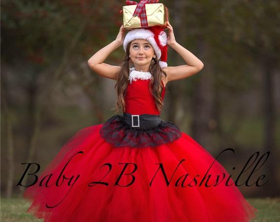 Red Santa Dress, Christmas Dress, Flower Girl Dress,  Tulle Dress