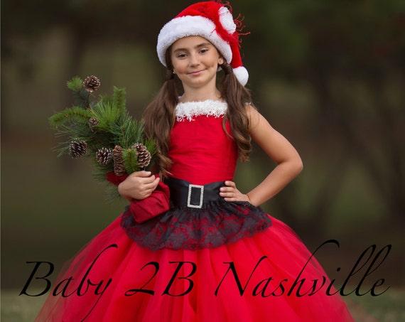 Santa Dress Christmas Dress Flower Girl Dress Red Dress Tulle Dress Lace Dress Wedding Dress Birthday Dress Toddler Tutu Dress Red Girls