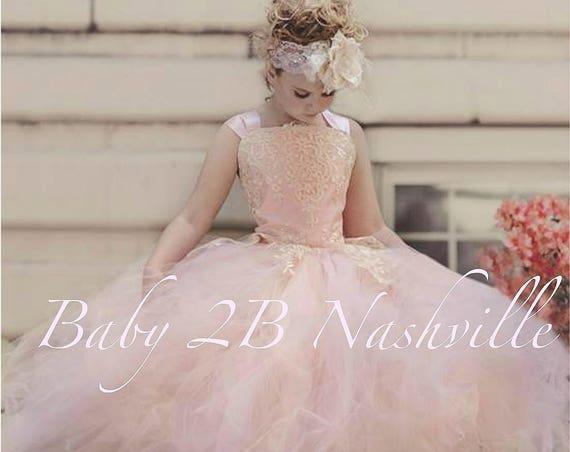 Flower Girl Dress Pink Blush Dress Princess Dress Tulle Dress Ivory Lace Dress Wedding Dress Birthday Dress Tutu Dress Girls Dress
