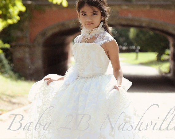 Flower Girl Dress Ivory Tutu Dress Vintage Dress White Lace Dress White Dress Tulle Dress Birthday Dress Toddler Tutu Dress Girls Dress
