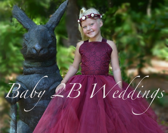 Burgundy Flower Girl Dress Lace Flower Girl  Dress Wine Tutu Dress Burgundy Baby Dress Toddler Wine Dress Girls Dress Burgundy Dress