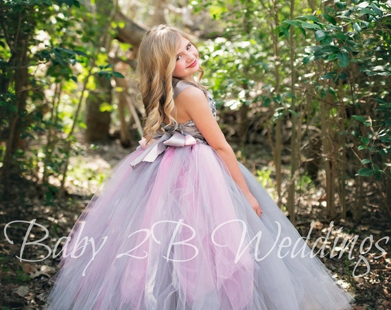 Silver Flower Girl Dress Pink Rose Bustle Gray Dress Grey Dress