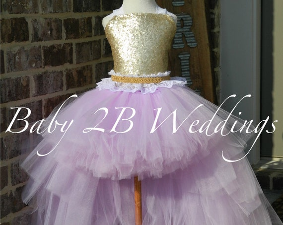 Gold Dress Sequin Dress Flower Girl Dress Lilac Dress Purple Dress Tulle Dress Birthday Dress Toddler Tutu Dress Lavender Girls Dress