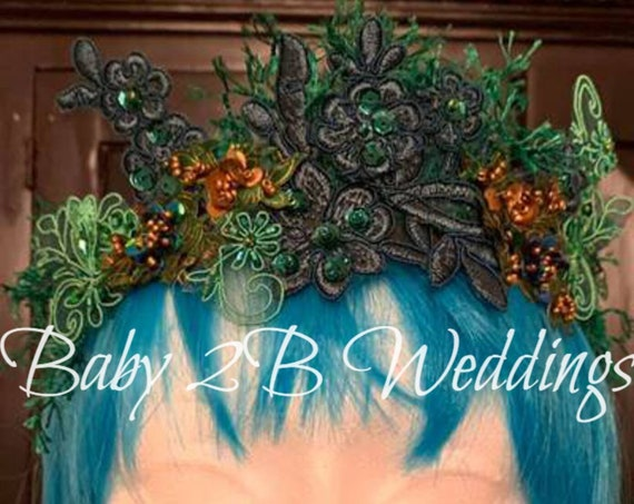 Emerald Green Floral Crown Fairy Crown Flower Girl Crown