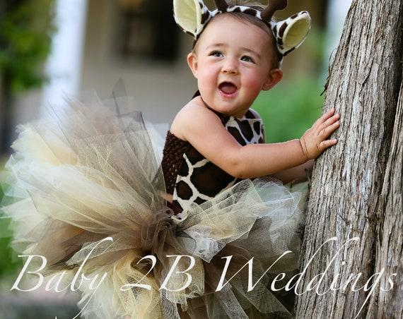 Baby Giraffe Costume Brown Safari  Baby Costume Giraffe Costume Tutu Costume  Baby Tutu Baby Giraffe Tutu Top and Skirt ONLY