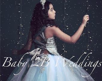 Blue Dress Silver Dress Flower Girl Dress Elsa Style Princess Dress Dress Lace Dress Wedding Dress Birthday Dress Tutu Dress Girls Dress