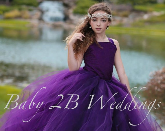 Plum Flower Girl Dress Wedding Flower Girl  Dress Plum Tutu Dress Purple Dress Plum Baby Dress Plum Toddler Dress Girls Dress Eggplant Dress