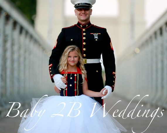 Patriotic Dress Marine Costume Dress Navy Dress White Dress Wedding Dress Toddlers Dress Girls Dress  Fourth of July Dress Pageant Dress