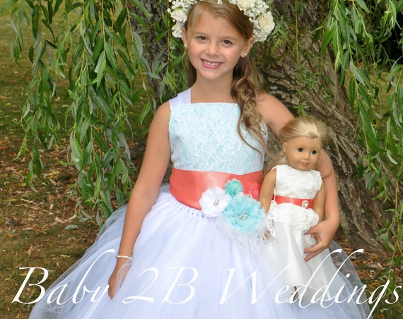 Aqua Flower Girl Dress with Coral Sash White Dress Lace Dress Coral Dress Aqua Dress Toddler Dress Girls Dress Tutu Dress Beach Wedding