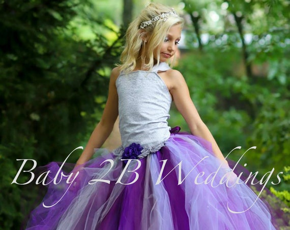 Silver Plum Flower Girl Dress Wedding Flower Girl  Dress Plum Tutu Dress Silver Dress Baby Dress Toddler Dress Girls Dress Purple Dress