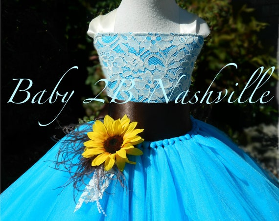 Sunflower Dress Turquoise Dress Flower Girl Dress Lace Dress Summer Dress Baby Dress Toddler Dress Girls Dress