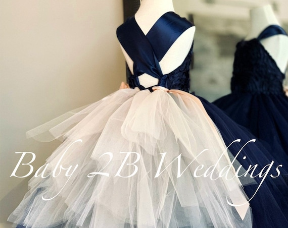 Navy Flower Girl Dress Silver and Blush Bustle Navy Dress Blue Dress