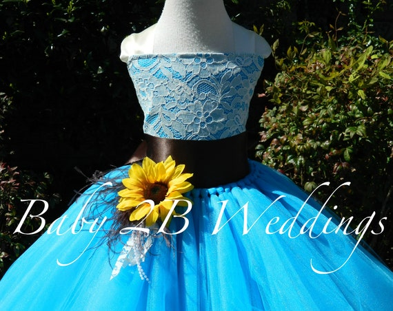 Turquoise Dress Sunflower Dress Flower Girl Dress Teal Dress Hi Lo Dress Tulle Dress Birthday Dress Toddler Tutu Dress Blue Girls Dress