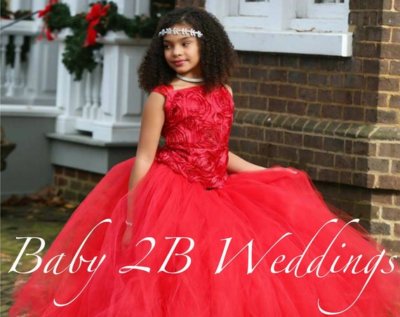 Red Dress Flower Girl Dress Tulle Dress Wedding Dress Tutu Dress Party Dress Baby Dress Toddler Tutu Dress Girls Tulle Dress