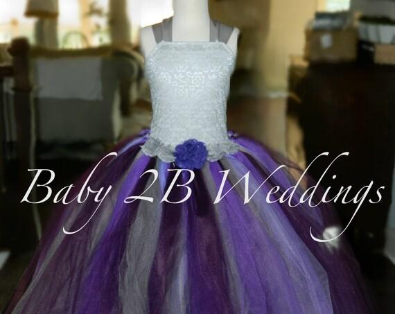 Silver Plum Flower Girl Dress Wedding Flower Girl  Dress Plum Tutu Dress Silver Dress Baby Dress Toddler Dress Girls Dress Purple Dress