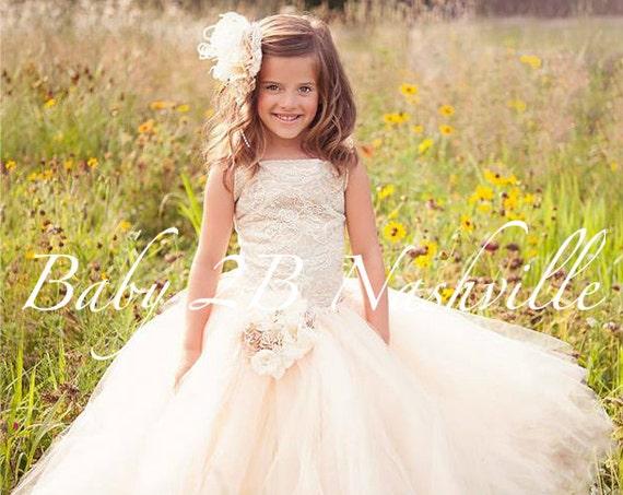 Vintage Sequin Dress Ivory Lace Dress Flower Girl Dress Nude Underlay Ivory Tulle Dress Party Dress Toddler Tutu Dress Girls Dress