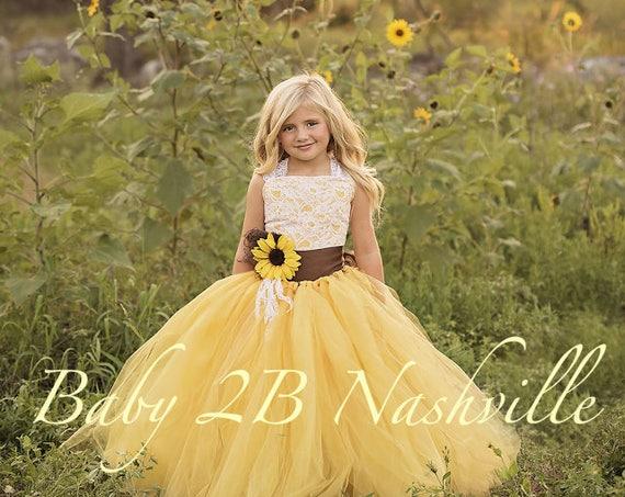 Flower Girl Dress Yellow Sunflower Dress Yellow Dress Lace Dress Tulle dress Wedding Dress Toddler Tutu  Dress  Sunflower Girls Dress