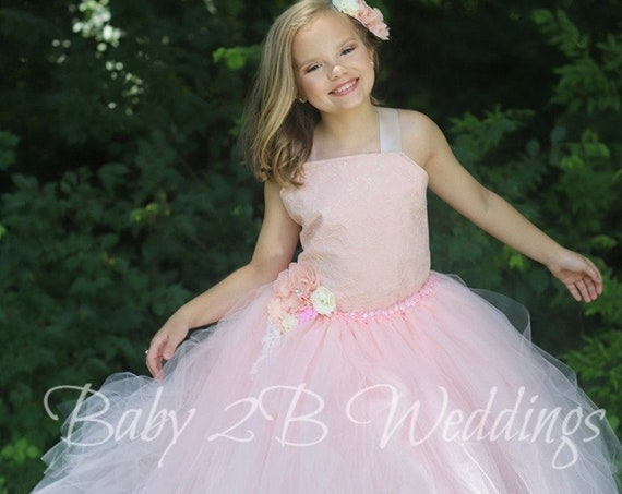 Pink Blush Flower Girl Dress, Wedding Dress, Lace Dress,  Champagne Lace with Blush Underlay, Girls Tulle Dress, Toddler Tutu Dress