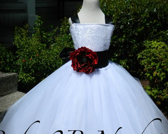 White Dress Flower Girl Dress Tulle Dress Lace Dress Tulle Dress Wedding Dress Birthday Dress Toddler Tutu Dress Girls Dress Black Dress