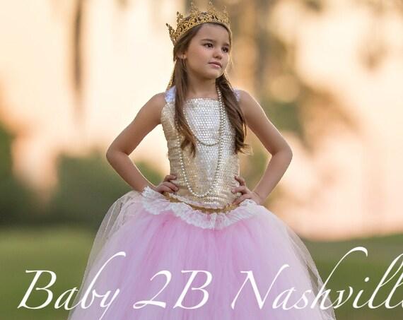 Gold Dress Sequin Dress Flower Girl Dress Pink Dress Tulle Dress Wedding Dress Party Dress  Birthday Dress Toddler Tutu Dress Girls Dress