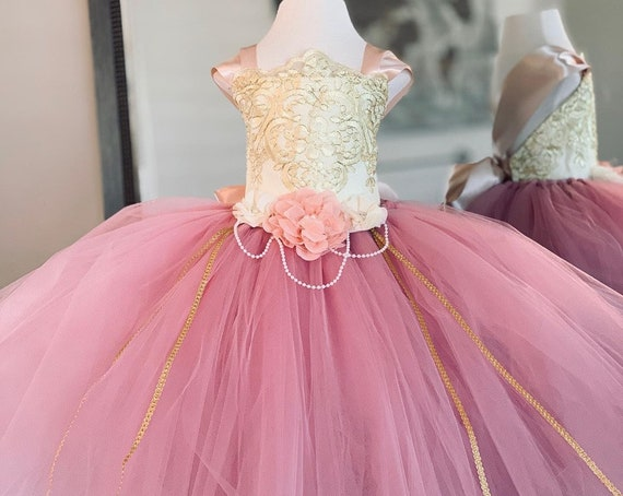 Rose Mauve Dress Flower Girl Dress Gold Dress Tulle Dress  Wedding Dress Birthday Dress Toddler Tutu Dress Pink Girls Dress