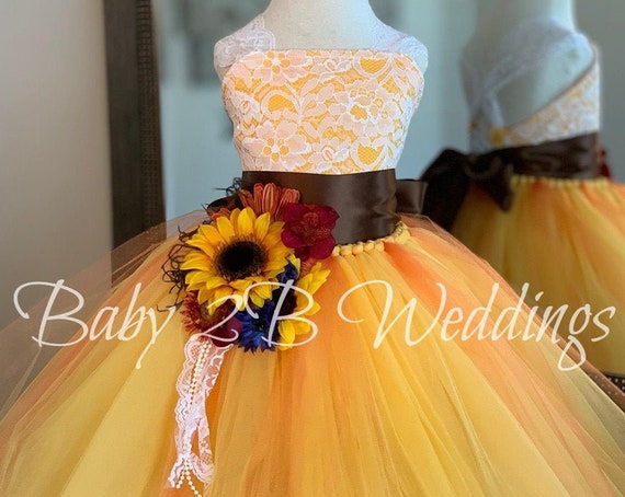 Deluxe Yellow Sunflower Dress Yellow Dress Lace Dress Tulle dress Wedding Dress Birthday Dress Toddler Tutu  Dress  Sunflower Girls Dress