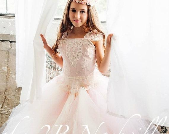 Pink Flower Girl Dress, Tulle Dress, Lace Dress, Flower Girl Dress, Toddler Tutu Dress, Girls Tulle Dress, Wedding Dress, Party Dress