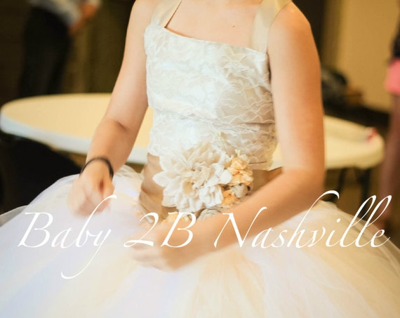 Vintage  Taupe Satin and Ivory Lace and Burlap Flower Girl Dress, Wedding Lace Flower Girl  Dress,  Tutu Dress  All Sizes Girls