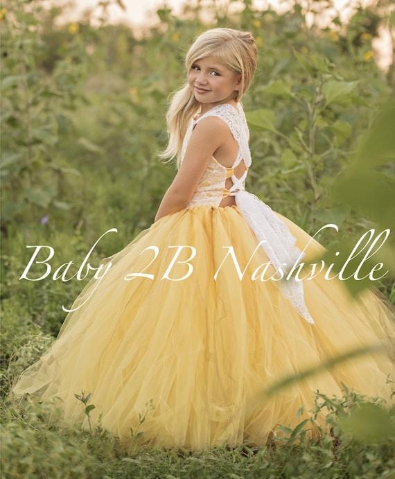 Yellow Flower Girl Dress Shabby Chic Lace Dress Tulle dress Wedding Dress Birthday Dress Toddler Dress Girls Dress