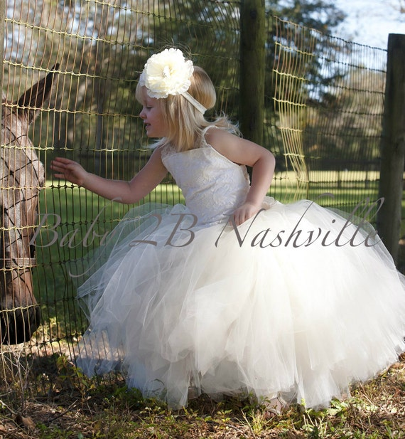 Ivory Lace Flower Girl Dress, Vintage Flower Girl  Dress, Ivory Lace Tutu Dress,Wedding Flower Girl Tutu Dress Baby -24M