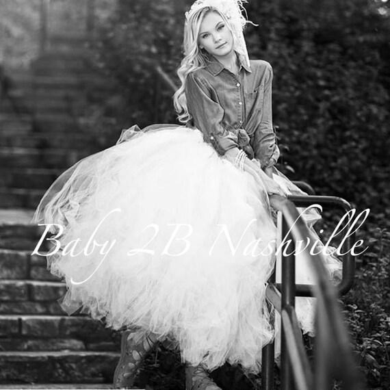 Bridal Skirt White Wedding Tutu Women's Full Length Ballroom Style White Bridal Tulle Skirt Wedding Dresses and Separates Tulle Dress Skirt