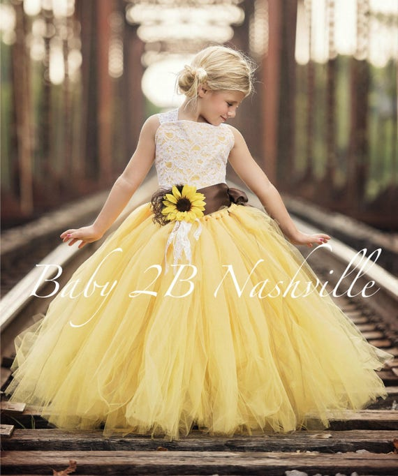 Yellow Sunflower Flower Girl Dress, Tutu style