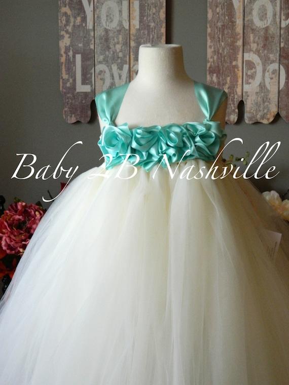 Vintage Tulle Dress Wedding Dress Flower Girl Dress Ivory Dress Aqua Dress Toddler Tulle Dress Baby Dress Robins Egg Dress