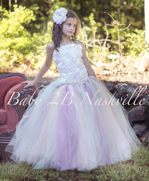 Flower Girl Dress Ivory Dress Rose Dress Lace Dress Tulle Dress Flower Girl Dress Tutu Dress Baby Dress Toddler Tutu Dress Girls Dress
