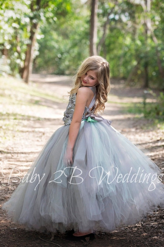 Silver Flower Girl Dress Mint Bustle Gray Dress Grey Dress