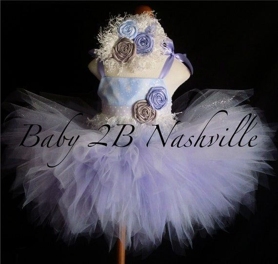 Winter Onederland Snow Princess Dress with Lavender Skirt Baby Dress Baby Tutu Dress