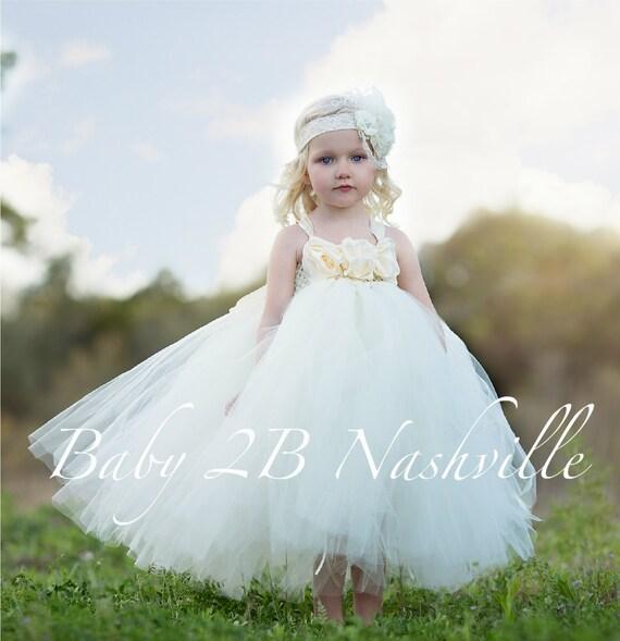 Flower Girl Dress  Wedding Dress Ivory Dress Vintage Dress Tulle Dress Tutu Dress Baby Dress Toddler Dress Girls Dress Party Dress Birthday