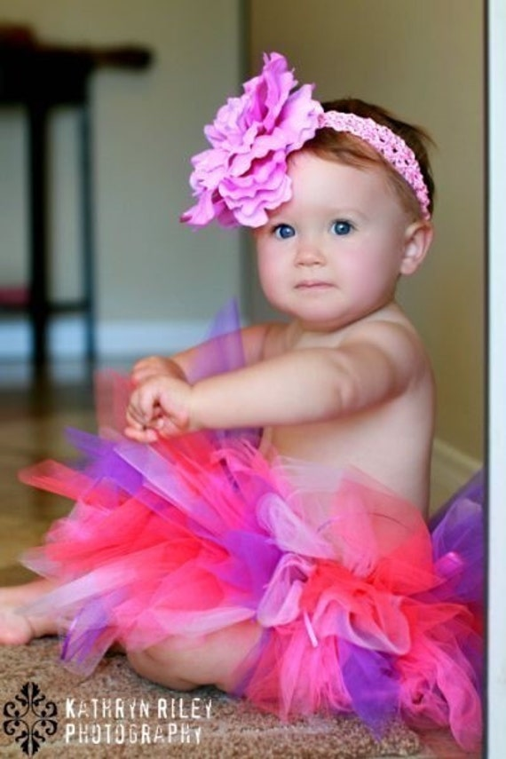 Baby Tutu Skirt in Purple and Pink Birthday Tutu Cake Smash Tutu Baby Tulle Skirt